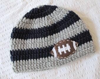 Football Baby Hat crochet Hat with Felt Football Appliqué - sizes newborn to teen photo prop hat