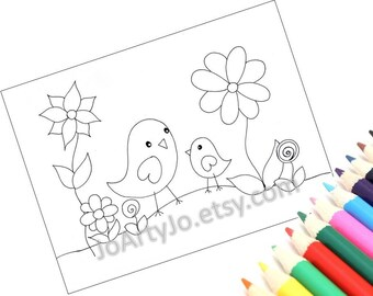 Coloring Page- Cute Birds  Page 1, Printable PDF Instant Download