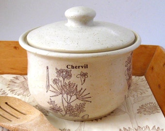 Lidded Casserole - Bean Pot - Ready to Ship - Bakeware -  Herb Motif-  Hand Thrown Stoneware Pottery