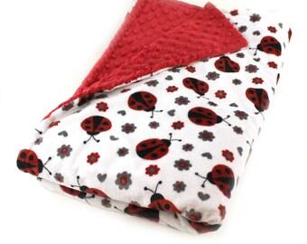 Kids Minky Blanket, Ladybug Blanket, Girl Blanket, Minky Throw Blanket, Adult Minky Blanket, Twin Bedding, Personalized Blanket, Gift Idea