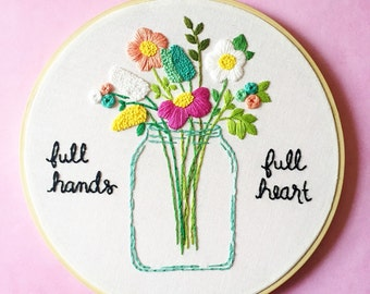 Floral Gift for Mom, Floral Hand Embroidery, Art for mom, Embroidery Art, Mothers Day Gift, Hand embroidered art, hoop art for mom, KimArt