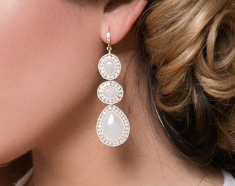 Bridal Jewelry Opal Earrings Boho Jewelry Gold Earrings Bridal Accessories Long Earrings Moonstone Earrings Boho Gold Earrings E075-G