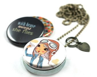 Brave Necklace   Brave Locket, Gift for Her Personalized, Girl Pilot, Paper Airplane, Bravery Necklace, 3 in 1, Magnetic Set, Recycled Steel