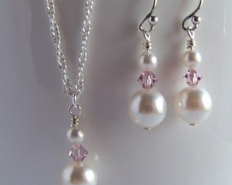 Bridesmaids Set of 4 - Four Pearl Necklace Sets - Pearl and Violet Crystal Bridesmaid Jewelry Set of 4 - Bridesmaid White & Violet Pearl Set
