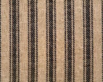 Black Ticking Stripe Curtain Panels Stripe Curtains Window Treatments Kitchen Farmhouse Country Drapery Custom Drapes