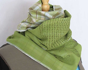butterfly coffeebean green plaid scarf