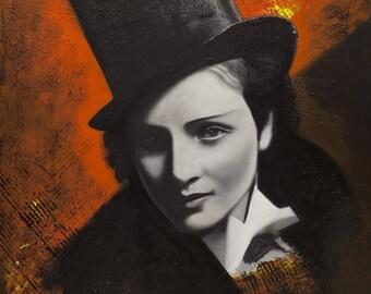actress, vintage, painting, acrylic, original