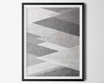 Abstract Print, Grey Geometric Wall Art, Geometric Poster, Minimalist Art, Digital Download, Digital Wall Art, Printable Wall Art