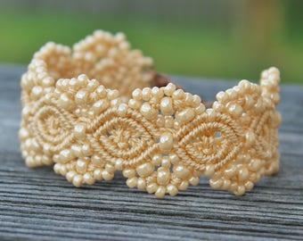 Micro-Macrame Cuff Bracelet. Modern Macrame. Beaded Cuff. Beige Cuff Bracelet. Macrame Cuff. Statement Jewelry. Boutique Fashion Piece.