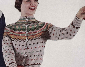 PATTERN Vintage Ski Lodge Button Down Cardigan Sweater to Knit PDF Pattern Color work Fair Isle Button Down Sweater