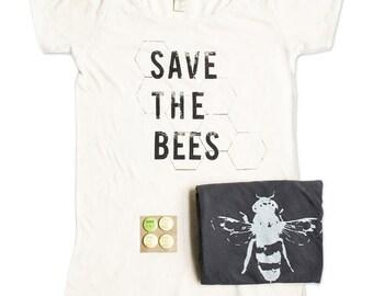 Organic Cotton Tshirts - Bamboo - Womens Save The Bees Tshirt Bundle -  Bee Tshirts - Small, Medium, Large, XL - Gift Bundle