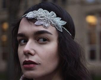 Silver Diamante Flower Headpiece Vintage Bridal Flapper 1920s Headband Art Deco 1930s Headdress Great Gatsby Dress Wedding Hair Band M27