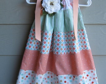 Child's Peach, Cream and Sage Tiered Print Pillowcase Dress - 24 mth or 2T - Tiered, pillowcase dress, infant dress, infant pillowcase