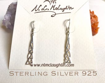 Sterling Silver Celtic knot earrings, Celtic knot dangle earrings, Celtic jewelry, Love knot earrings, Love knot studs, Irish knot earrings