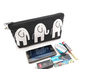 Black and White Elephant - Medium Cosmetic Bag with Zippered top - 10 x 5 x 2