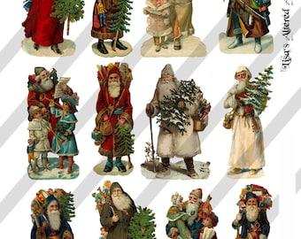 Digital Collage Sheet Victorian Santa Claus Images (Sheet no. O94) Instant Download