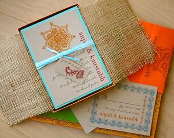 "Wedding Invitations, Boxed Burlap Wedding Invitations - ""Henna Love"" Box Invite Sample"