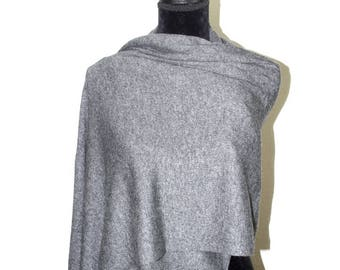 Cashmere Knit Scarf Ladies Shawl Grey Cashmere Wool Knit Wrap Cashmere Knit Stole Winter Warm Cashmere Travel Blanket