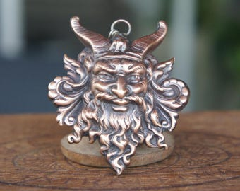 French Brass Stamping Green Man Viking Horned God Pendant Necklace