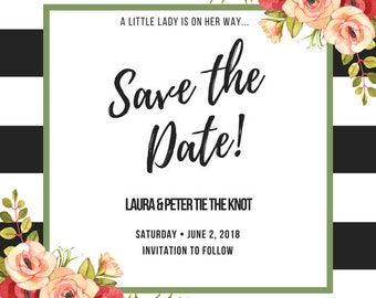Save the Date Stripes & Flowers