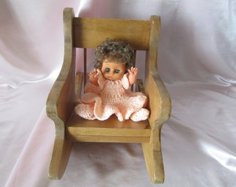 Chair wooden toy primitive, VINTAGE Chair rocking toy rocking chair VTG wooden home made