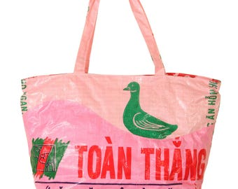 Eco-Art Recycled Plastic Large Market Tote, Rice Bag, made of upcycled rice bags and feed sacks, purse, handbag, Blue Dragon Craft