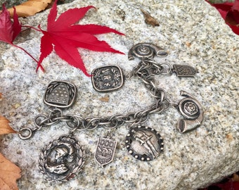 Vintage Silver Charm Bracelet, Medieval Style Knights Shield Coat of Arms Charms, 7 inch charm bracelet, Vintage Costume Jewelry