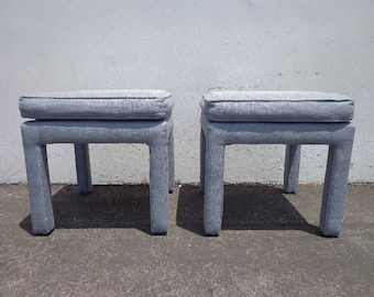 2 Stools Bench Bed Pair of Ottoman Parsons Benches Seating Ottomans Chair Hassock Footstool Chinoiserie Asian Boho Hollywood Regency Chic