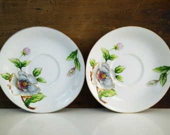 Vintage Roselyn China Dogwood Saucers - set of 2
