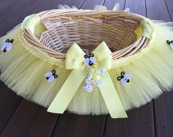 Medium Pale yellow bumble bee baby shower Basket, Tutu Gift Basket, Tutu Baby Shower Basket, Wedding Basket, tutu Easter Basket, Newborn P