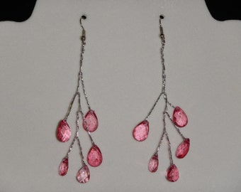 Garnet Tear Drop Wire Wrapped Earrings
