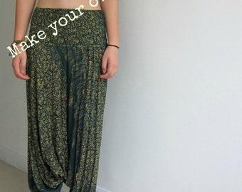 Original Girls Harem Pants Tutorial Template Digital Download Pattern Wide Leg Low Crotch Yoga Pant