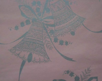 Vintage Wedding Gift Wrap 1970s Wrapping Paper-Pink & Silver Wedding Bells-2 Sheets NIP