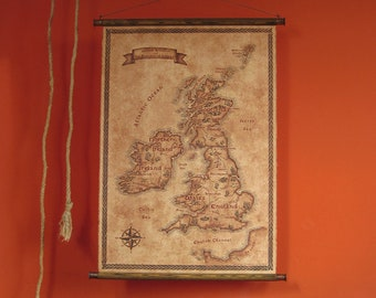 """Fantasy styled map of British Isles, pull down canvas map, 62x82 cm / 24.4"""" x 32.3"""" wall map, Vintage UK map, Vintage styled map"""