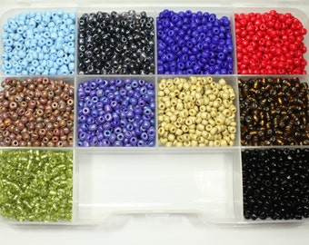 6/0 Seed Bead Kit, 10 Colors, Seed Beads, Craft Supplies, Jewelry Supplies
