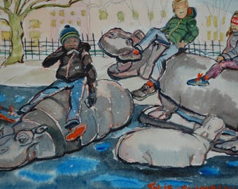Central Park Playground Watercolor
