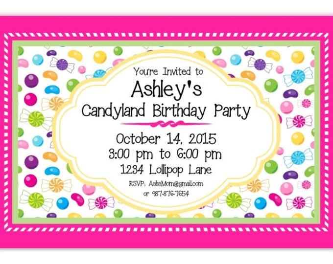 Candyland Party Birthday Invitation, Candy Birthday, Sweet 16 Birthday Invitation,  Digital Design, CUSTOM 4x6 or 5x7 size, YOU print