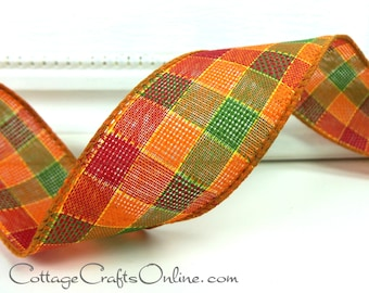 """Fall Wired Ribbon, 1 1/2"""",  Plaid Orange, Green, Cranberry Red, Yellow - THREE YARDS - """"Autumn Plaid"""" Thanksgiving Wire Edged Ribbon"""