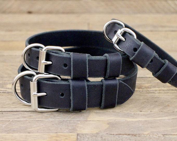 Collar, Dog collar, Leather, FREE ID TAG, Silver hardware, Charcoal black, Handmade collar, Small size, Dog collars, Dog Walk.