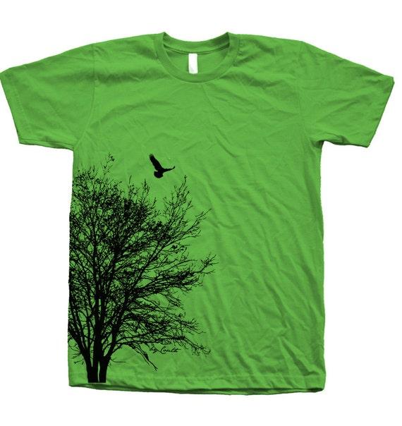Tree T-shirt, Men's T-shirt, Unisex T-shirt, American Apparel, Screen Print,  Crew Neck, 100% Cotton, Tree Shirt, White T-shirt, Short Sleeve