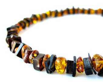 Shell necklace for men -  black shell and amber necklace - Forest Fire