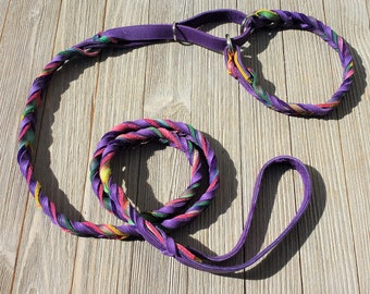Leather Agility Slip Lead, Leash for Dog Agility,  Martingale Leash, Tie Dye and Purple