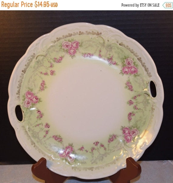 Delayed Shipping Floral Porcelain Tray Vintage Soft Green Pink Roses Gilding Double Handled Plate Wedding Decor Gift for Her Mothers Day Gif