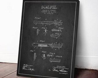 1916 Scalpel Canvas Print, Scalpel Patent, Medical Print, Medical Decor, Scalpel Print, Wall Art, Home Decor, Gift Idea, ME45C