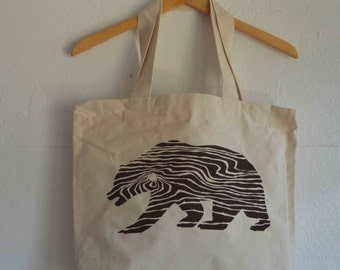 California Bear Wood Grain Tote Bag