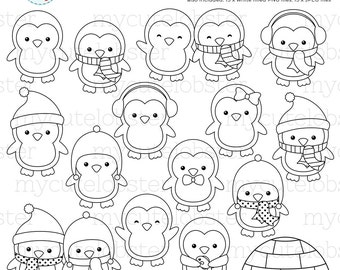 Cute Penguins Digital Stamps - penguin outlines, line art, igloo, stamps, coloring - personal use, small commercial use, instant download