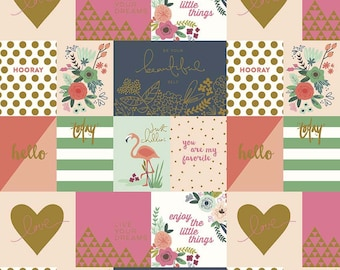 Flamingo Fabric/ Peach Notecard/ On Trend Fabric/ Pink and Gold Fabric/ Heart Fabric/ On Trend Notecard/ Floral Fabric/ Riley Blake Fabric