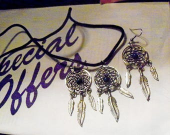 Dream Catcher Pendant Necklace And Matching Earrings