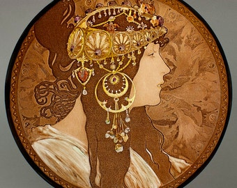 Mucha, Mucha Byzantine Brunette, Mucha kilnfired glass medallion, Mucha stained glass, Mucha suncatcher, Mucha glass fragment, Mucha vitrail