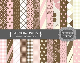 Digital Paper Pack Pink and Brown Paper Backgrounds - Neopolitan